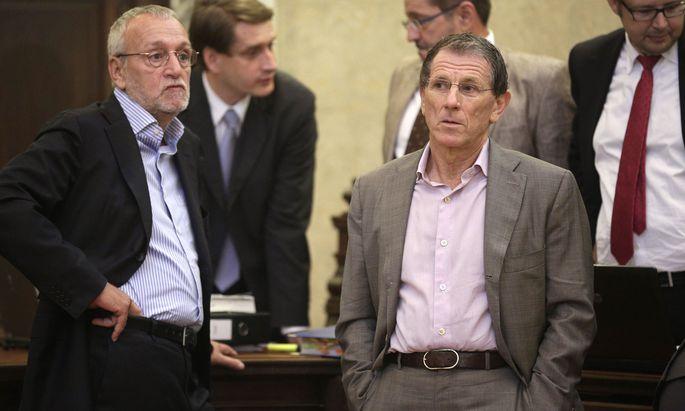 Ex-Telekom-Vorstand Fischer (l.) und Ex-Lobbyist Hochegger sitzen demnächst wieder gemeinsam auf der Anklagebank.