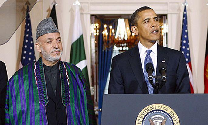 Afghanistans Präsident Hamid Karzai bei US-Präsident Barack Obama.