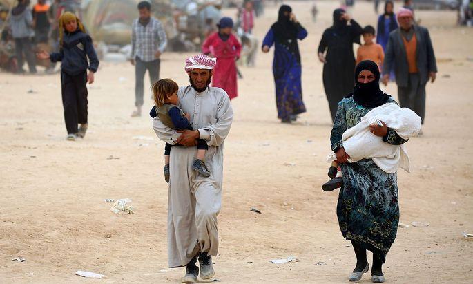Intern Vertriebene in Syrien.