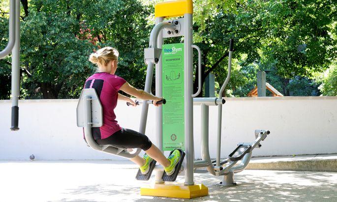 Training im Rochuspark im dritten Bezirk in Wien.