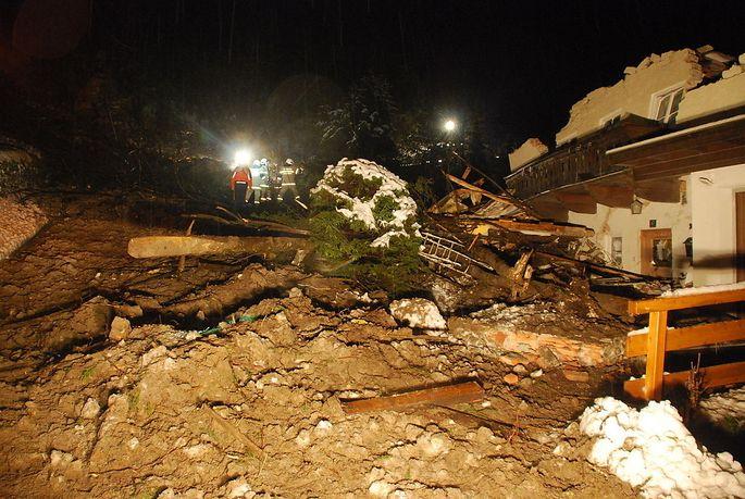 In Bad Gastein ging eine Mure auf zwei Häuser nieder