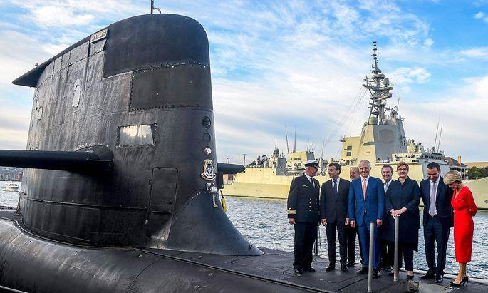 Da war der Kauf einer U-Bootflotte noch fix: Ein Bild aus dem Jahr 2018 mit 2018 Emmanuel Macron und dem australischen Premier Malcolm Turnbull.