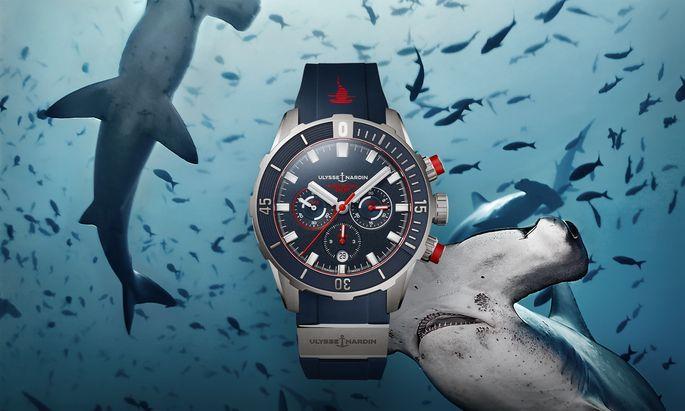 """Ansage. Zeigt den Haien, wo der Hammer hängt: Die """"Hammerhead Shark""""-Sonderedition von Ulysse Nardin in limitierter Auflage. Der Taucherchronograf wird vom UN-150 Manufakturkaliber mit Siliziumhemmung und 48Stunden Gangreserve angetrieben."""