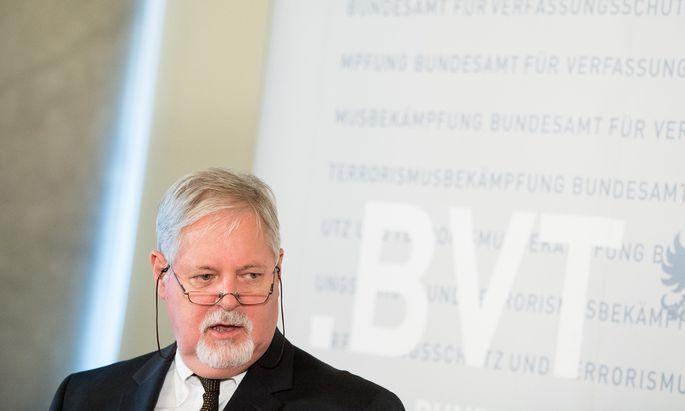 Archivbild: Peter Gridling, bei der Präsentation des Verfassungsschutzberichtes 2017