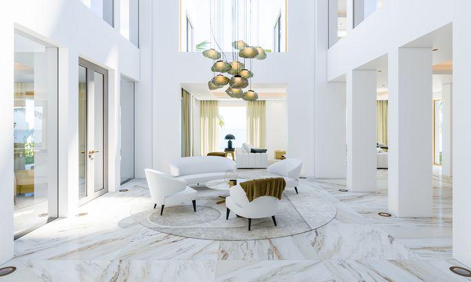 Umgestaltete Villa auf der Palmeninsel Jumeirah in Dubai.