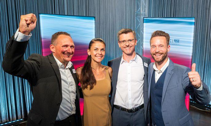 Das Team von MFG, Gerhard Pöttler, Dagmar Häusler, Spitzenkandidat Joachim Aigner