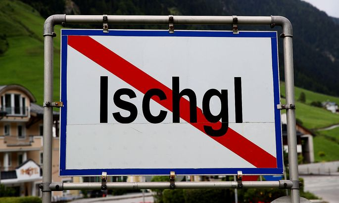 FILE PHOTO: A sign marks the end of the village in Ischgl