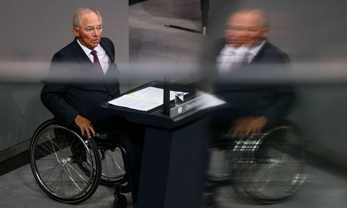 150819 BERLIN Aug 19 2015 German Finance Minister Wolfgang Schaeuble attends a special se