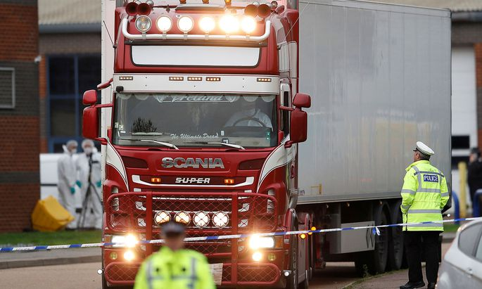 FILE PHOTO: The scene where bodies were discovered in a lorry container, in Grays, Essex