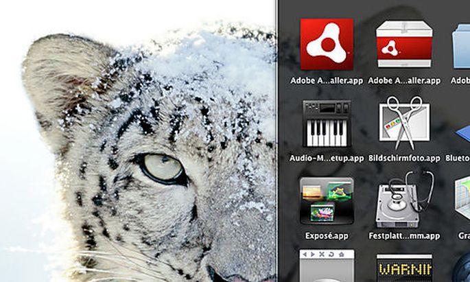 Ein Bildschirmfoto vom 31. August 2009 zeigt die Oberflaeche des Mac-Systems Snow Leopard (Mac OS X 1