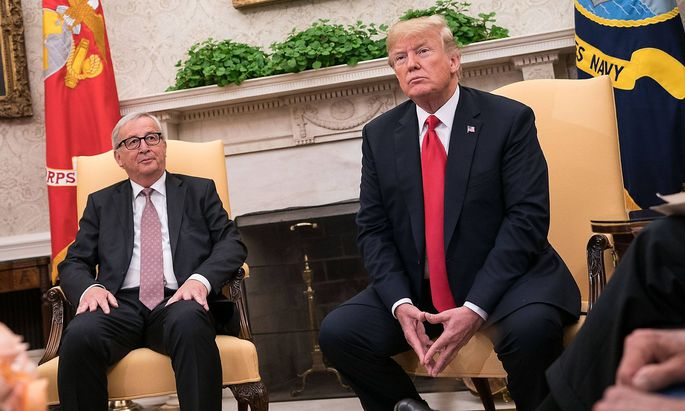 U S President Donald Trump meets with President of the European Commission Jean Claude Juncker in