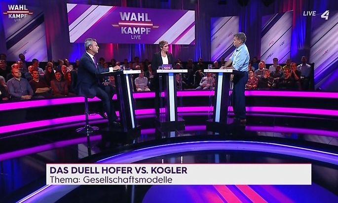Norbert Hofer und Werner Kogler im Puls4-Wahlduell am 9. September 2019
