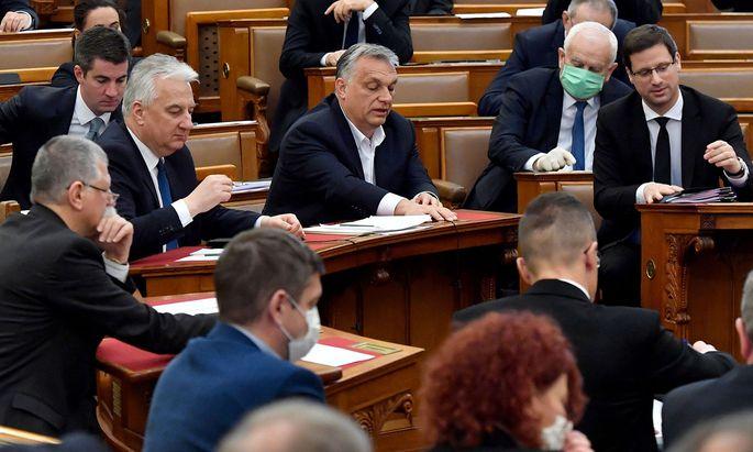 Ministerpräsident Viktor Orbán bei der Abstimmung über das umstrittene Notstandsgesetz, das von Opposition, EU und westlichen Parlamentariern heftig kritisiert wird.