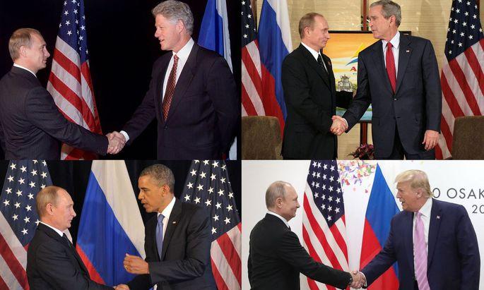 Archivaufnahmen von Begegnungen der US-Präsidenten mit Putin