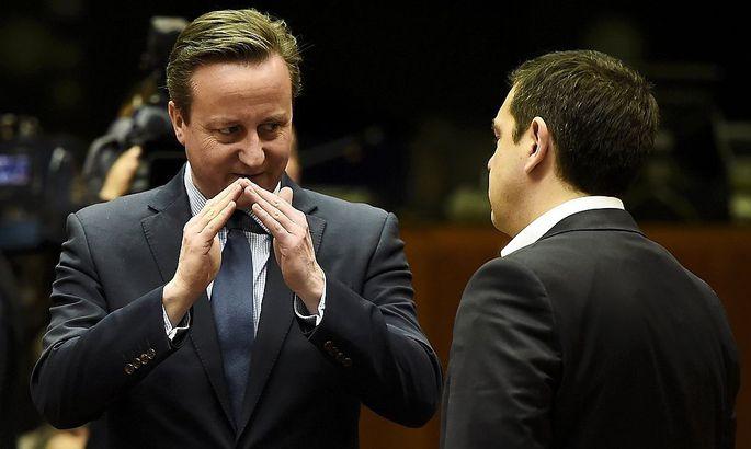 Briten-Premier David Cameron (l.) und sein griechischer Kollege Tsipras