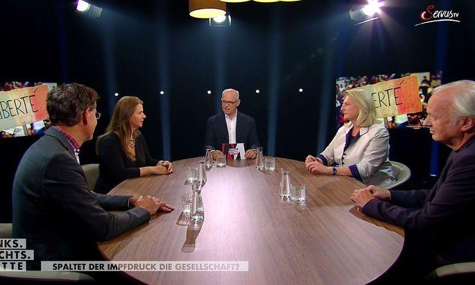 V.l.n.r.: Gerhard Koller, Birgit Kelle, Moderator Christoph Kotanko, Karin Kneissl und Karl Wendl.