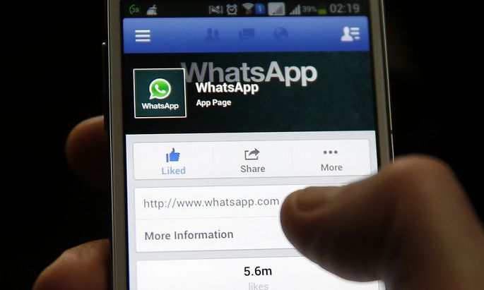 A Whatsapp App page is seen on Facebook on a Samsung Galaxy S4 phone in the central Bosnian town of Zenica