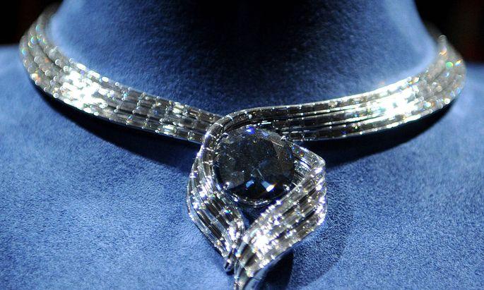 Der Hope-Diamant, ausgestellt im Smithsonian Museum of Natural History in Washington DC 2011.