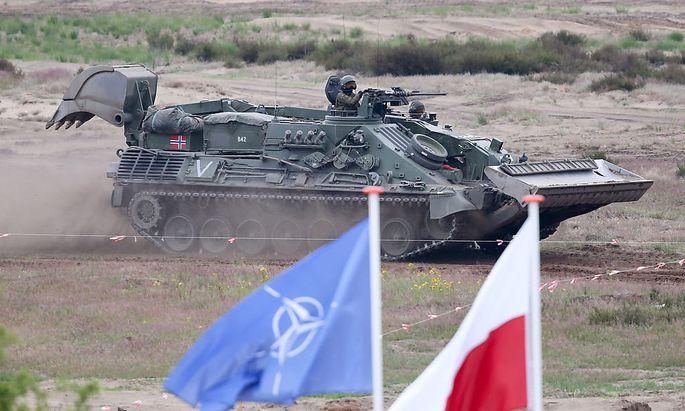 Ein norwegischer Panzer bei einer Nato-Übung in Polen.
