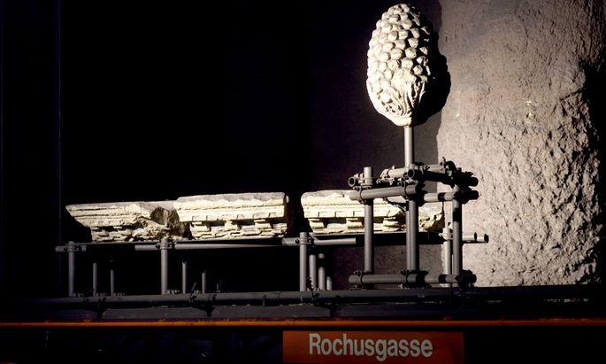 Antike Zeugnisse in Wien: römische Artefakte in der U-Bahn-Station Rochusgasse.