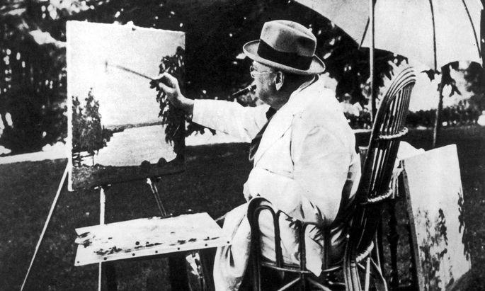 Winston Churchill beim Malen in der Schweiz