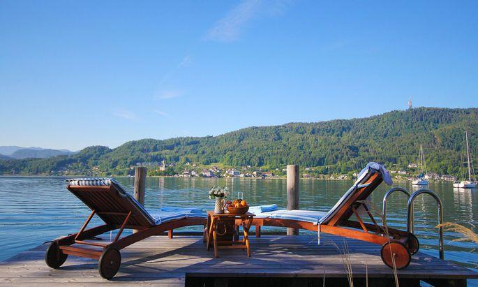 Heißbegehrt, aber teuer: Blick auf den Wörthersee aus einem Seehaus in Pörtschach.