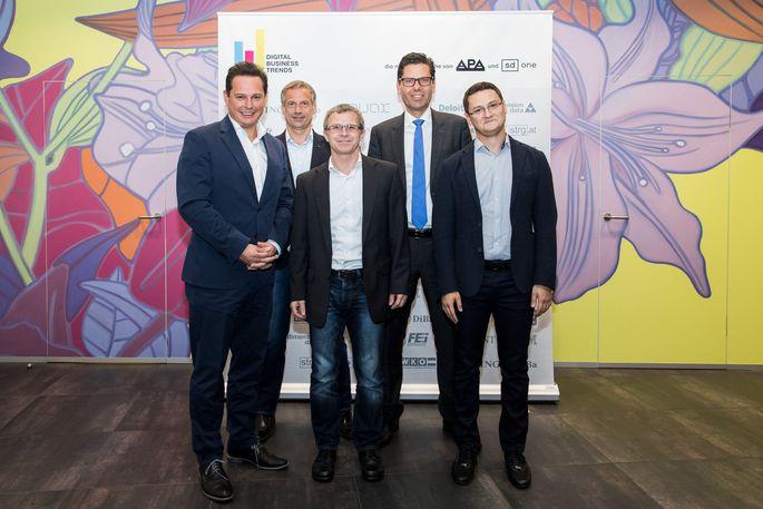 Im Bild v.l.n.r.: Gernot Hörmann (ORF, Moderation), Christian Minarovits (IBM Österreich), Thomas Zeinzinger (BlockchainHub Graz), Josef Zöchling (Wien Energie), Mikhail Arshinskiy (Deloitte Österreich)