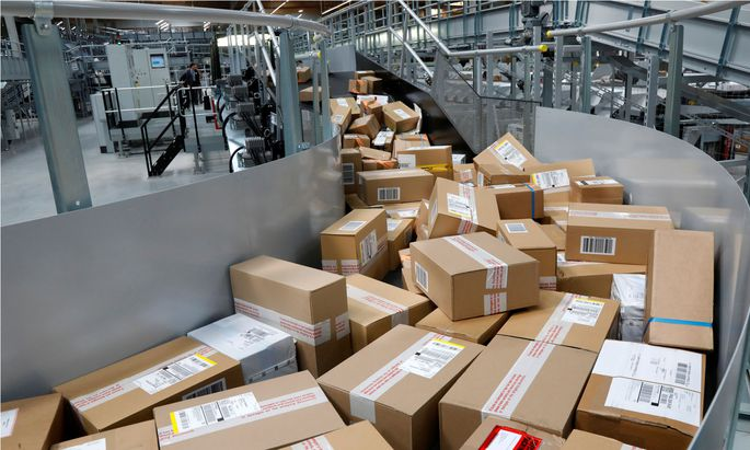 Packages are seen at the new package sorting and delivery UPS (United Parcel Service) hub in Corbeil-Essonnes and Evry