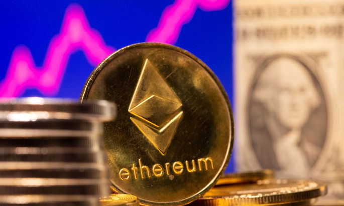 A representation of virtual currency Ethereum and U.S. One Dollar banknote are seen in front of a stock graph in this illustration
