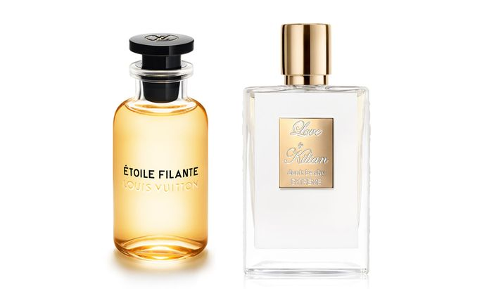 """Sternstunden. """"Étoile filante"""" von Louis Vuitton (100 ml um 225 €) und """"Love, Don't Be Shy Extreme"""" von Kilian Paris (50 ml um 240 €)"""
