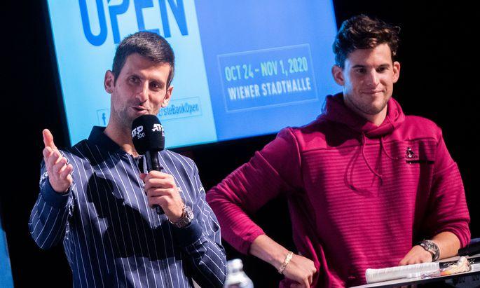 Novak Djoković und Dominic Thiem machten schon im Vorfeld Werbung für die Erste Bank Open in der Wiener Stadthalle.