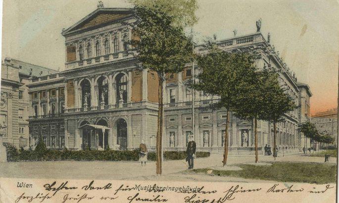 Am Beginn des 20. Jahrhunderts gab es vor dem Musikverein Bäume.