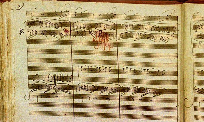 Deutschland Bonn 07 02 2001 Beethoven Archiv in Bonn Foto Originalnoten von Beethoven die sechs