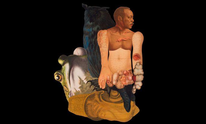 """Die Collage-Serie """"Skins"""" von Ines Doujak basiert auf einem historischen Atlas für Hautkrankheiten."""