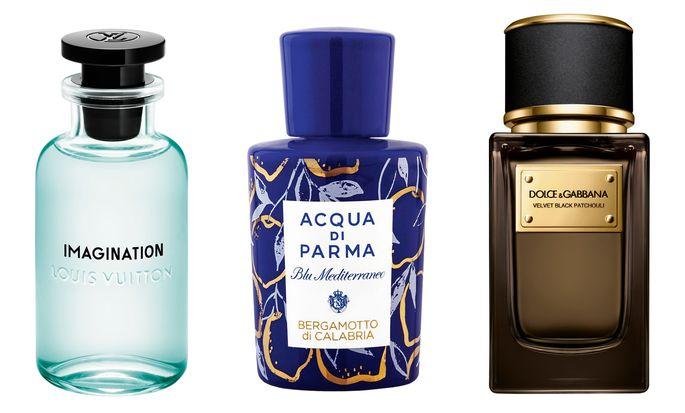 """Imagination"" von Louis Vuitton (100 ml um 225 €), ""Bergamotto di Calabria Spugnatura Edition"" von Acqua di Parma (100 ml um 137 €), ""Velvet Black Patchouli"" von Dolce & Gabbana Beauty (50 ml um 288 €)."