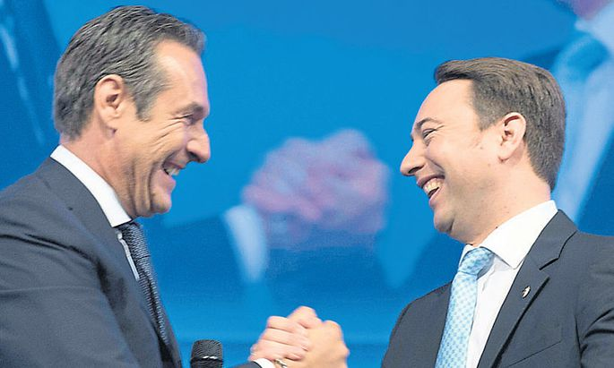 """Strache & Haimbuchner in Siegerlaune: """"Intensive Kontakte zur Wirtschaft."""""""