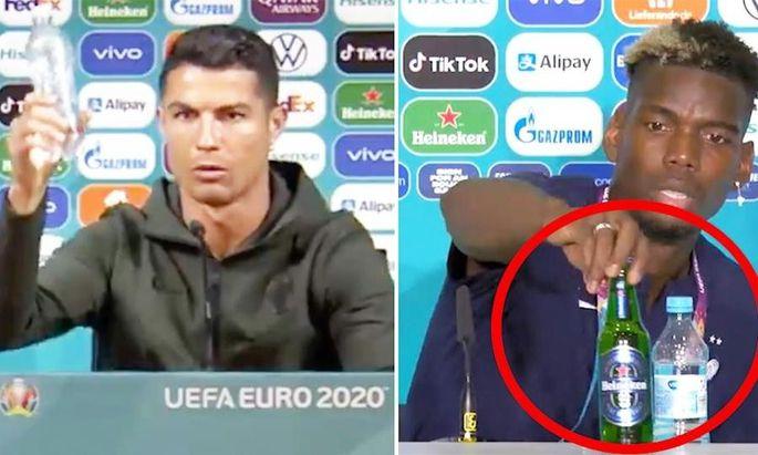 Sowohl Cristiano Ronaldo als auch Paul Pogba entfernen die Werbeflaschen