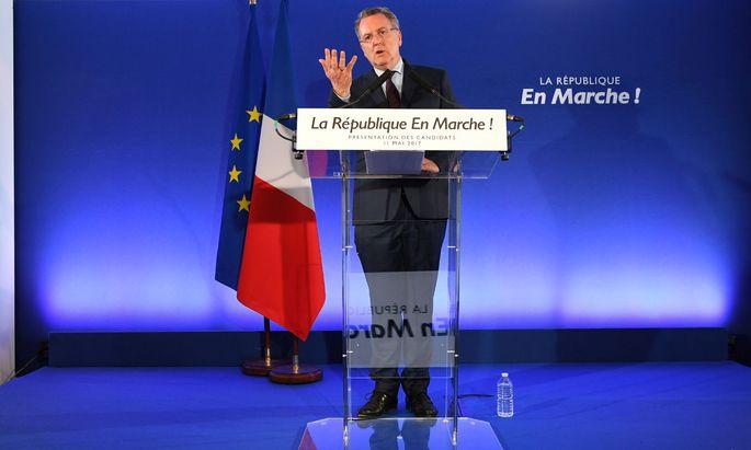 Generalsekretär Richard Ferrand präsentierte die Wahlliste von Macrons République en marche..