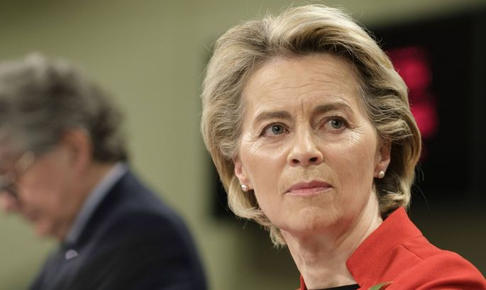 European Commission President Ursula von der Leyen addresses the media about the covid-19 passport at the Berlaymont, th