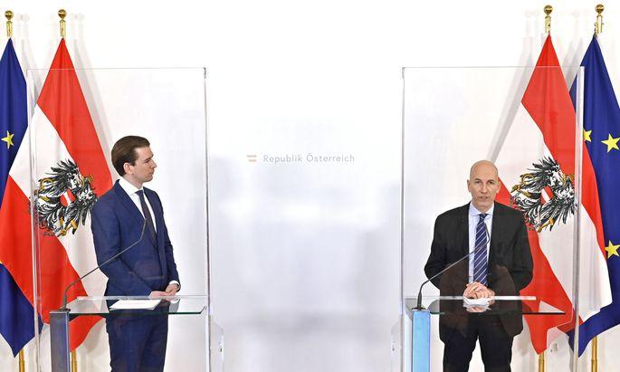 Kanzler Sebastian Kurz stellte am Sonntag Martin Kocher als Nachfolger von Christine Aschbacher vor.