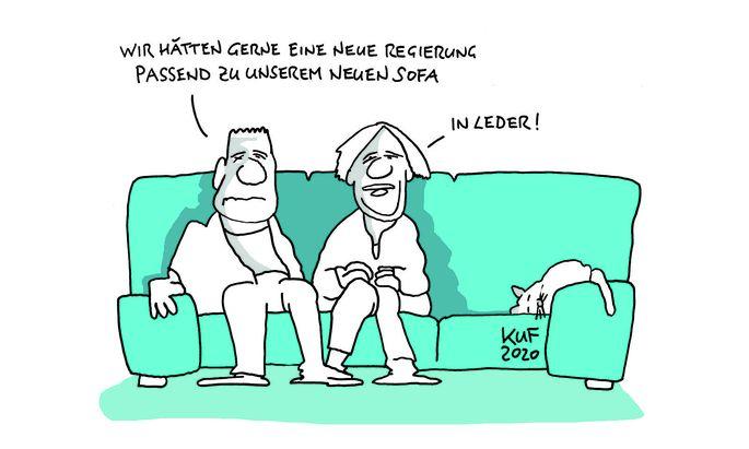"""""""Wir hätten gern eine neue Regierung, passen zu unserem Sofa"""" - """"In Leder""""."""