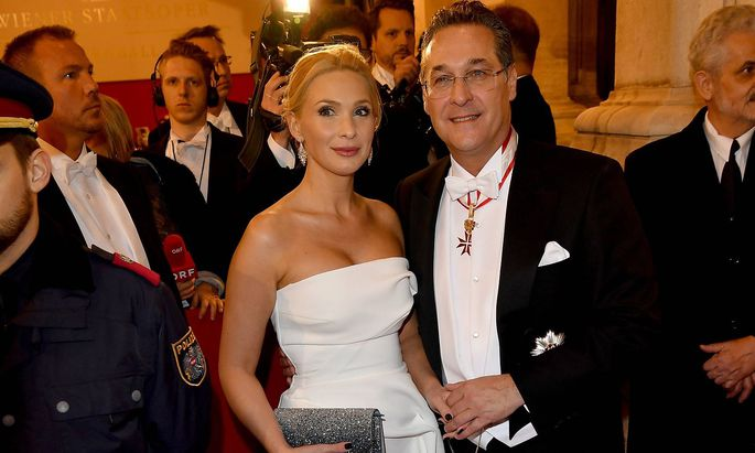 February 28 2019 Vienna Austria Heinz Chrsitian Strache and wife Philippa Strache at the Opera