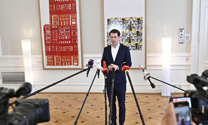 Sebastian Kurz bei einem seiner Pressestatements.