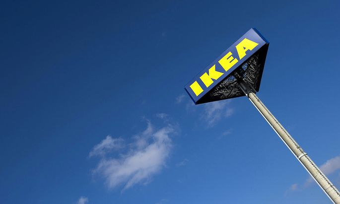 FILE PHOTO: The IKEA logo is seen outside IKEA Concept Center, a furniture store and headquarters of the IKEA brand owner Inter IKEA, in Delft