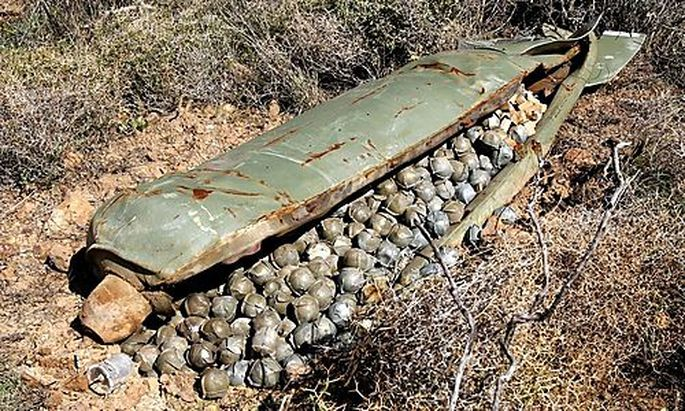 A Cluster Bomb Unit containing more than 600 cluster bombs, that was dropped by Israeli warplanes dur
