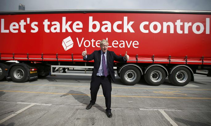 London Mayor Boris Johnson gestures during an ´Out´ campaign event, in favour of Britain leaving the European Union, at Europa Worldwide freight company in Dartford