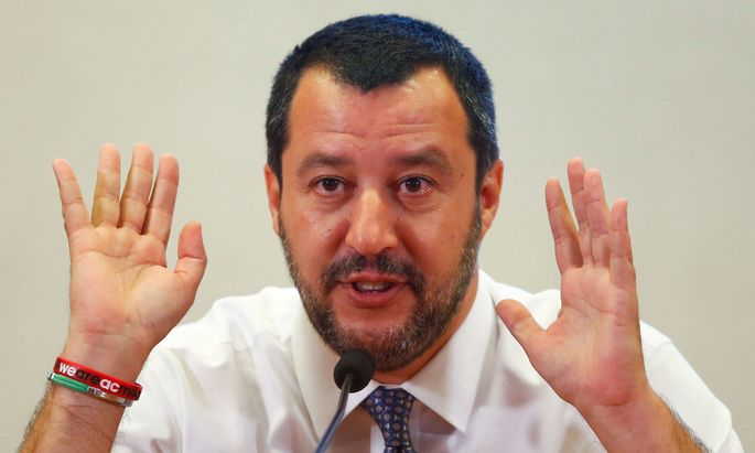 FILE PHOTO: Italy's Interior Minister Salvini attends a news conference at the Viminale in Rome