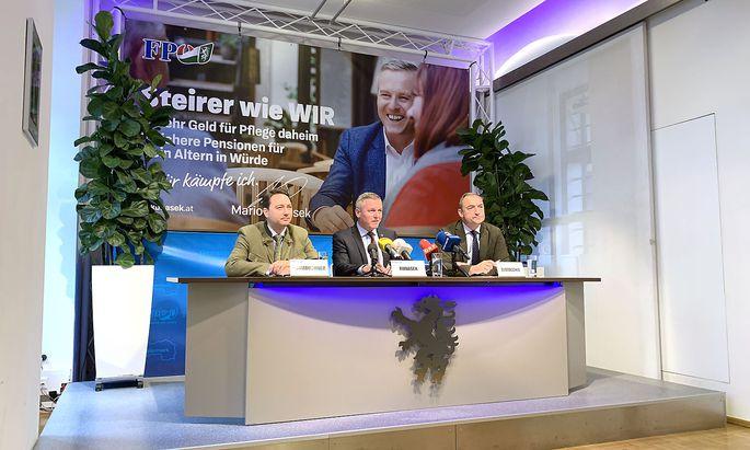 STEIERMARK-WAHL: PK FPOe STEIERMARK 'DIE FPOe ALS GESTALTERISCHE KRAFT' - HAIMBUCHNER / KUNASEK / EUSTACCHIO
