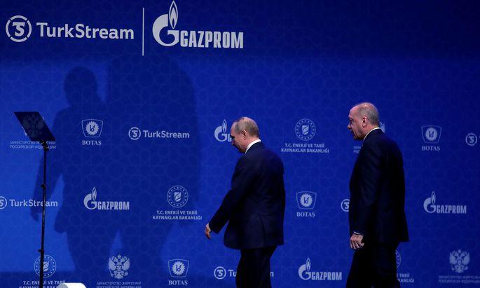"""Erdogan und Putin bei der Eröffnung der Pipeline """"TurkStream"""""""
