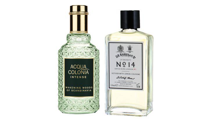"""Auf Achse. """"Wakening Woods of Scandinavia"""" von 4711 Acqua Colonia Intense (170 ml um 45 €), """"N° 14 Vetiver with Lemon Cologne"""" von Hackett (100ml um 42 Pfund)."""